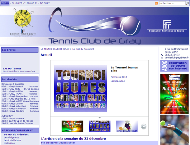 site du Tennis Club de Gray