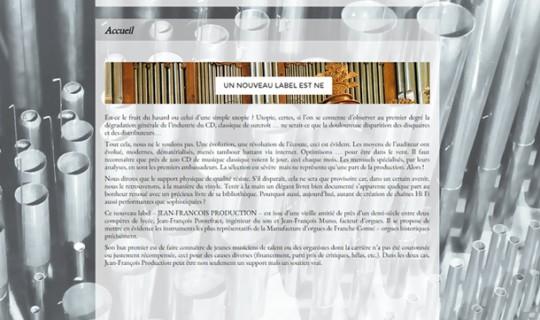 Site internet d'uns société de production de CD audio